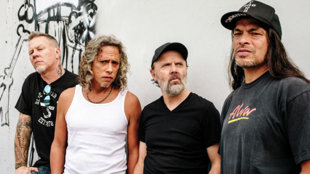 From left: James Hetfield, Kirk Hammett, Lars Ulrich and Robert Trujillo, of the hard-rock band Metallica, at their headquarters in San Rafael, Calif.